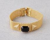 Gold bracelet, silver bracelet. Classic gold or silver bracelet with a black Swarovski crystal, perfect gift for her.