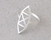 silver ring, gold ring,  24K gold plated\ pure silver plated ring, Geometric ring, unique design.