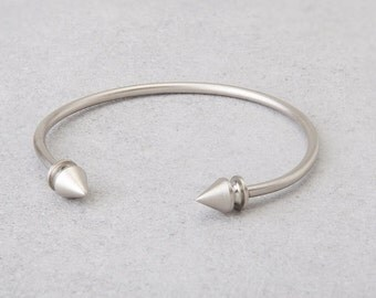 Bracelet, stackable bracelets, Open bracelet, Silver studs, bangle bracelet. Beautiful, dainty open silver bracelet.
