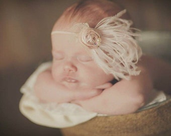 Newborn baby Dupioni Silk Hand Rolled Rosette Headband in Pale Baby Pink vintage tones with Curly Feathers, Lace, Crystal and Pearls