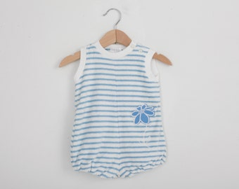 Vintage Baby Romper in Striped Terrycloth 12 months