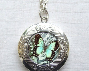 Photo Locket, Butterfly Necklace, Silver Butterfly Locket
