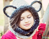 Knitted Wolf Hooded Cowl - Photo prop - Gray and Black Wolf - wolf hat - Childs Wolf hat - Wolf Cowl - Adult Wolf Cowl - woodland wolf hat