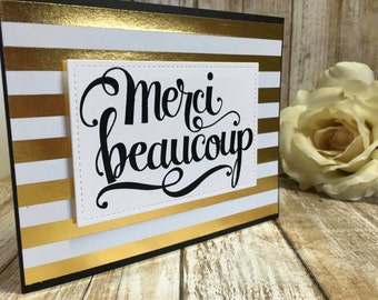 Foiled Stripes-Merci Beaucoup/Thank You card