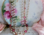 Vintage Faux Pearl and Pink Stone Necklace, Vintage Necklaces, Faux Pearl Necklaces, Wedding Jewelry, Wedding Necklaces, Shabby and Chic