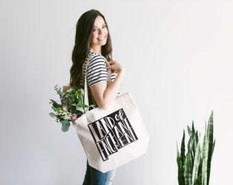 """NEW MEXICO Hand Lettered Tote Bag Design • """"Land Of Enchantment"""" Cotton Canvas Tote Bag • Hand Printed New Mexico Tote Bag •FREE Shipping"""