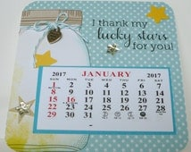 2017 Mason Jar Mini Calendar, Coaster Calendar with magnet, Star theme, Lucky Stars