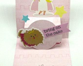 Pomeranian pop up card, Princess card, Birthday card, Fairy Tale pop up card