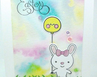 Handmade Easter Card, Happy Easter watercolor card, Bunny with Balloons