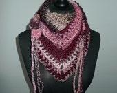 Ready to Shipp!!! Road Trip Scarf  Flowers RTS, Triangle scarf,  Burgundy, Cream & Pink Shawl