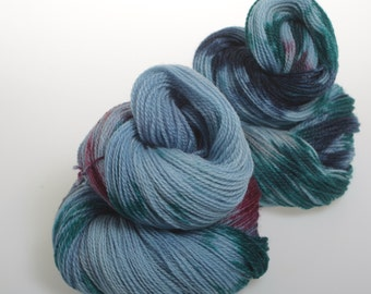 Hand Dyed Yarn 'Fair Dinkum' - Hand dyed Wool / Silk / Bamboo Yarn - 4 ply wool yarn