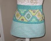 Hand sewn turquoise, yellow, white and grey woman's utility apron