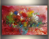 Red Abstract Painting flower Painting Original Art Painting Large Painting Red Acrylic Painting Floral Painting Flowers Valentines Gift