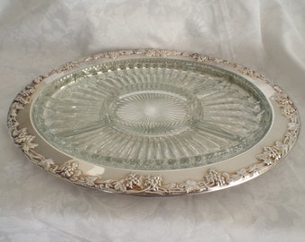 Silver Plate Serving Tray with 5-Section Glass Insert Grapevine Platter Oblong Large Size Newport Gorham