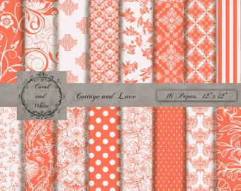 Coral and White Digital Background, Printable Papers, Coral and White Scrapbook Paper, Coral and White Backdrops, Digital Paper Pack