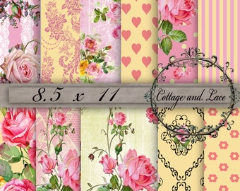 Digital Background, Floral Digital Paper, Roses, Digital Scrapbooking, Digital Shabby Chic, Digital Bundle, Decoupage, No P 87SC