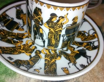 Demitasse Cups Greece Hand Made And Painted Demitasse Cups .....Mini Cups...Saucers..Set Of 5  Magnificent Collection...