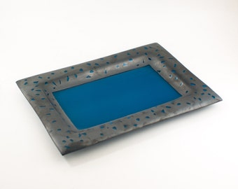 Decorative Tray, Modern Serving Platter, Steel Blue and Gray, Fused Glass, Modern Design, Wedding Gifts for Couples, Cool Kitchen Accessory
