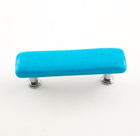 Turquoise drawer pulls fused glass door handle cabinet for Turquoise cabinet pulls