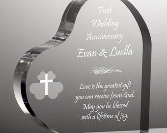 Engraved Religious Anniversary Heart Plaque