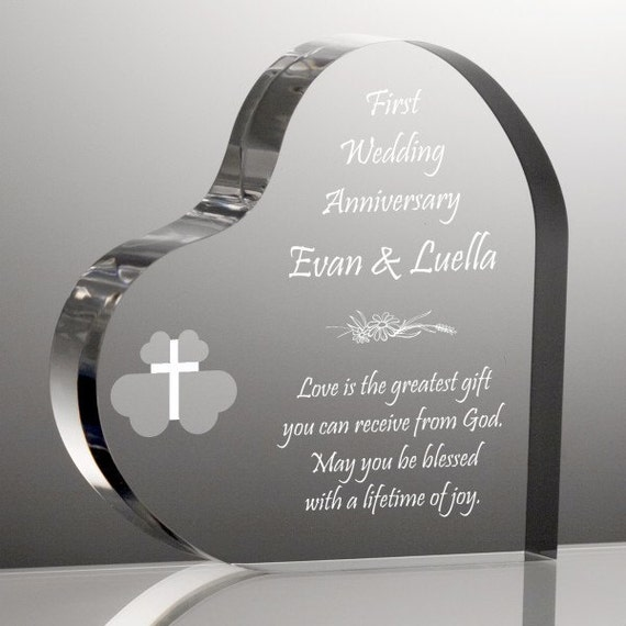 Engraved Religious Anniversary Heart Plaque