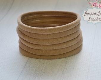Nude nylon headband, Tan soft stretchy one size fits all headband, wholesale nylon headbands, diy headband, headband supplies,