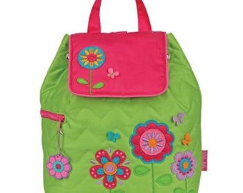 Personalized Stephen Joseph Flowers Quilted Backpack