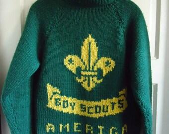Vintage 50s/60s BOY SCOUTS Of America Hand Knit Cowichan Wool Sweater sz XS