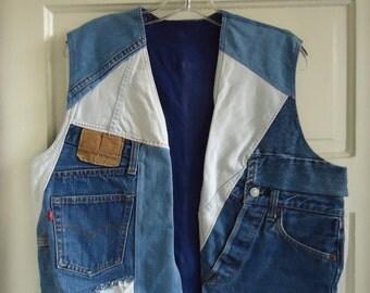 Vintage 80s Denim Patchwork Vest sz M/L