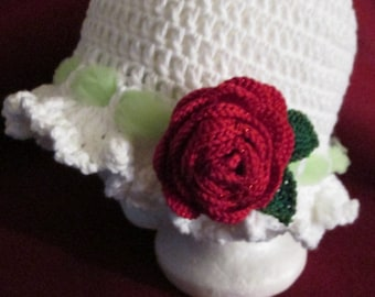 Handmade crochet white hat with red rose