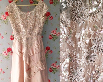 1950s Beaded Silk and Lace Prom Dress in Pale Pink by Bernetti