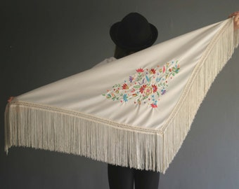 Small Ivory Embroidered Piano Shawl