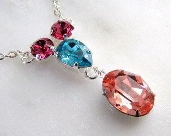 Rose Light Turquoise Rose Peach Swarovski Crystal Necklace