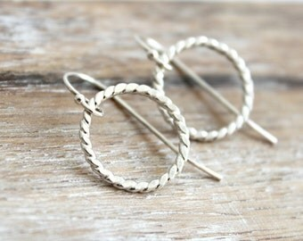 Small Sterling Silver Hoop Earrings Dainty Minimalist Handcrafted Jewelry Hammered Hoops Silver Rope Circle Earrings