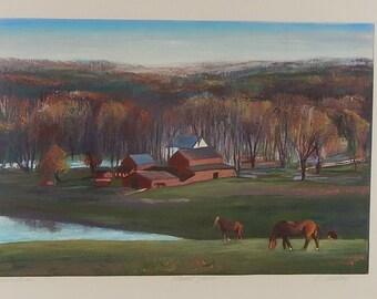 Folk Art - Farm Landscape with Horses, Monotype Signed by Elizabeth Reday - Russet Farm