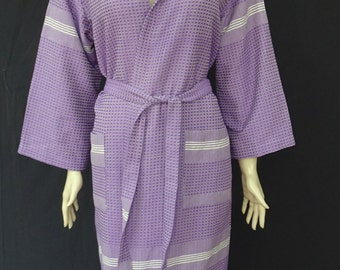 Women's purple colour soft light weight cotton Turkish hooded bathrobe, dressing gown, bridal hooded bathrobe.