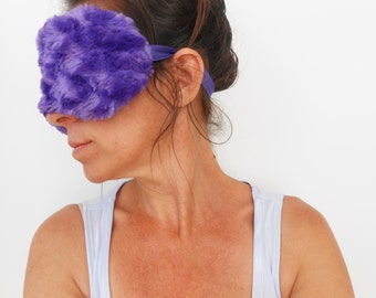 Purple Minky and Satin Sleep Mask
