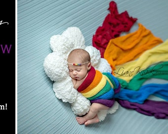 Rainbow Stretch Knit wraps set of 6 ,  photography newborn prop wrap
