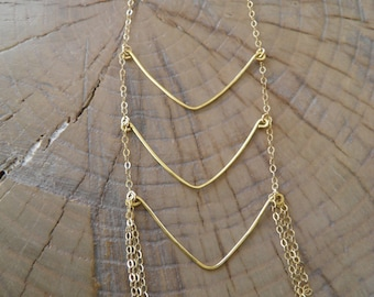 "Necklace... ""Rivers"" gold necklace with brass hammered wire."