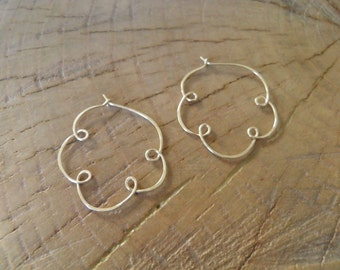 "Earrings... ""In the Clouds"" Sterling silver handmade and hammered hoops"