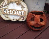 German Style Papier Mache Primitive pumpkin Halloween Lantern