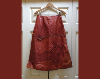 1970s Long Leather Patchwork A-Line Skirt