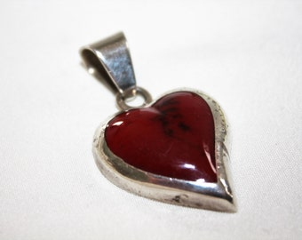 Vintage Heart Pendant, Red Turquoise Pendant, Sterling Turqouise Pendant, Mexico Jewelry