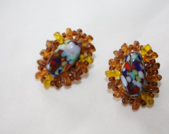 Vintage Orange Art Glass Clip on Earrings 1950s Jewelry