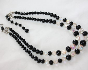 Vintage Black Crystal Bead Necklace, Double Strand Necklace, 1950s Jewelry