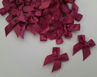 100 mini Satin Ribbon Bow Applique Embellishments Bows - Mulberry Red Color