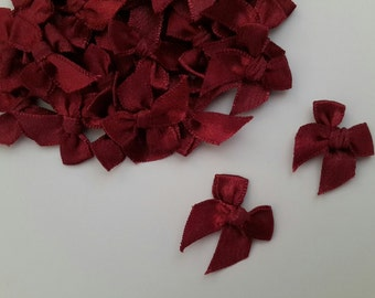 100 mini Satin Ribbon Bow Applique Embellishments Bows - Burgundy Red Color