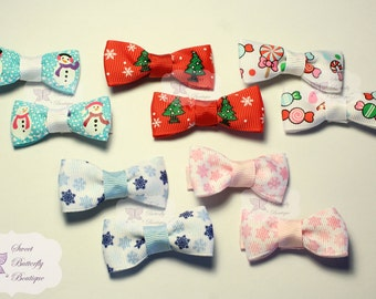 Christmas Clip Multipack - 10 pack clips - Tuxedo Bows - Pigtail sets