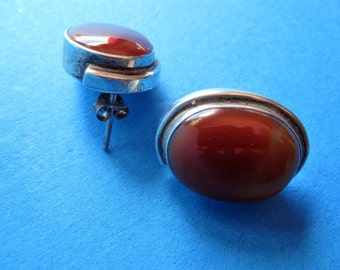 India Agate and silver earrings