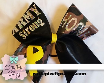 Army Strong Cheer Bow with Yellow Ribbon and HOOAH